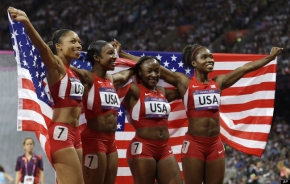 The 4X100 meter team of Allyson Felix, Carmelita Jeter, Tiana Madison, and Bianca Knight smashed the World Record and ran there way to Olympic Gold at London.